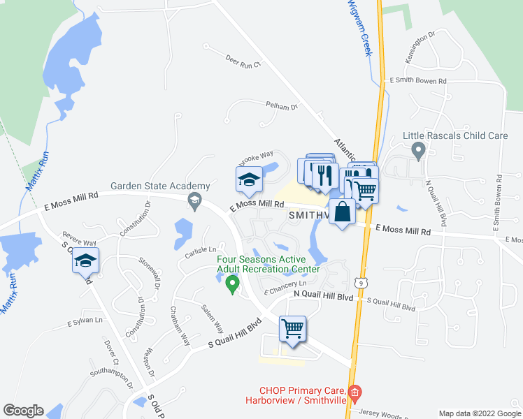 map of restaurants, bars, coffee shops, grocery stores, and more near 107 Driftwood Court in Absecon