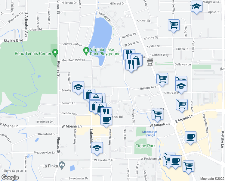 map of restaurants, bars, coffee shops, grocery stores, and more near 655 Robinhood Drive in Reno
