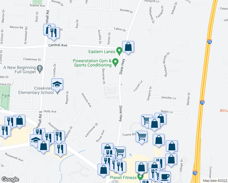 map of restaurants, bars, coffee shops, grocery stores, and more near 496 Bavarian Dr in