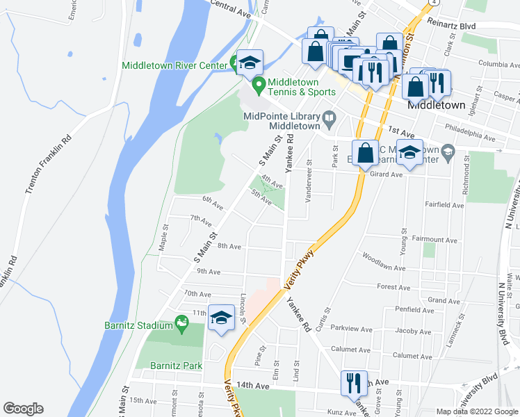 map of restaurants, bars, coffee shops, grocery stores, and more near 508 Lincoln Street in Middletown