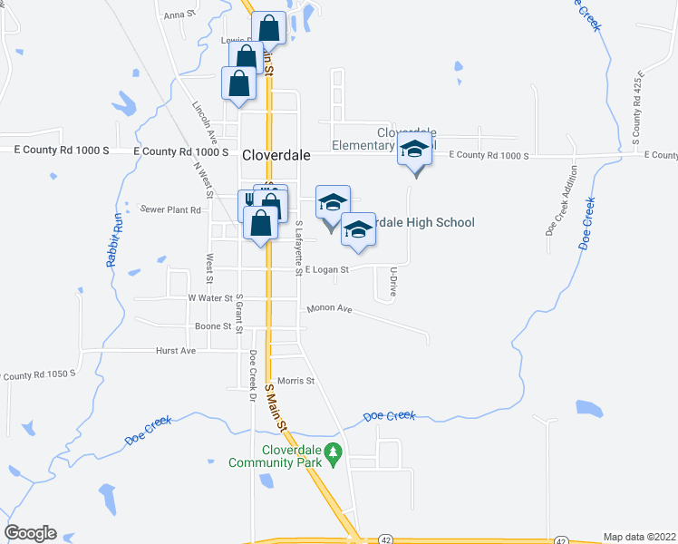 map of restaurants, bars, coffee shops, grocery stores, and more near 57 Logan Court in Cloverdale
