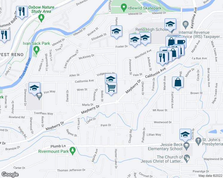 map of restaurants, bars, coffee shops, grocery stores, and more near 909 Hunter Lake Drive in Reno