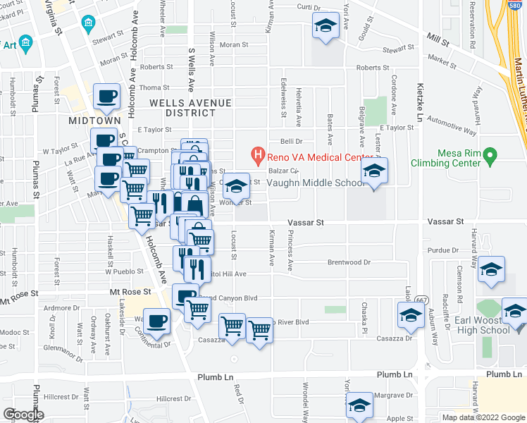 map of restaurants, bars, coffee shops, grocery stores, and more near 501-599 Vassar Street in Reno