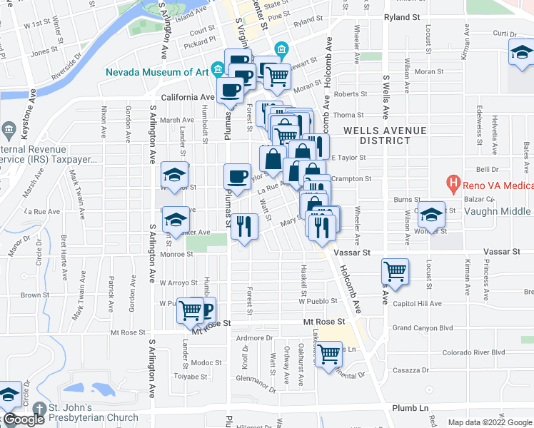 map of restaurants, bars, coffee shops, grocery stores, and more near 196 Martin Street in Reno
