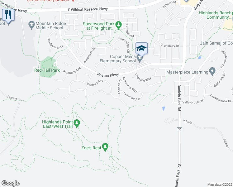 map of restaurants, bars, coffee shops, grocery stores, and more near 10727 Addison Court in Littleton
