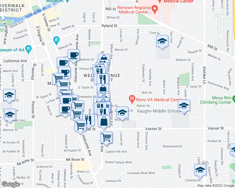 map of restaurants, bars, coffee shops, grocery stores, and more near 529 Crampton Street in Reno