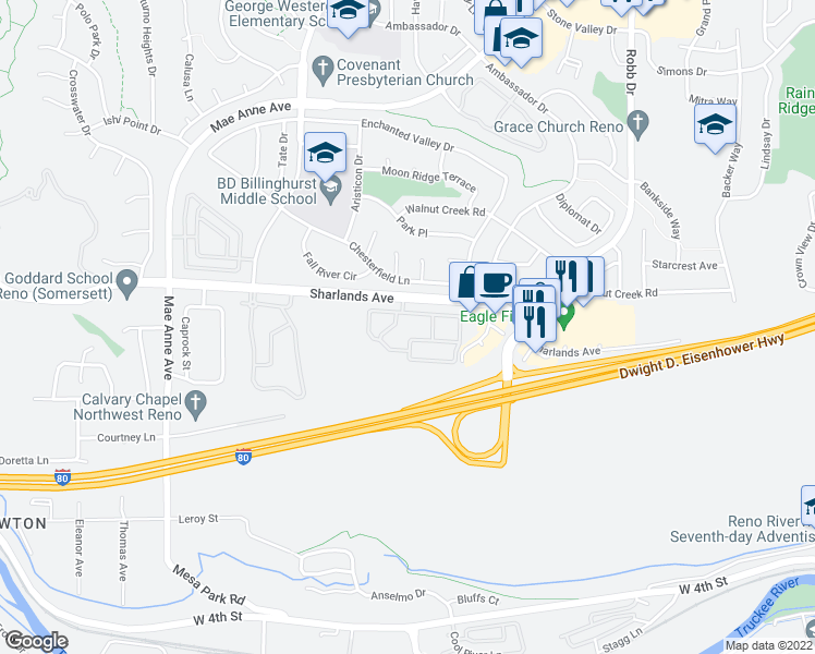 map of restaurants, bars, coffee shops, grocery stores, and more near 6400 Sharlands Avenue in Reno