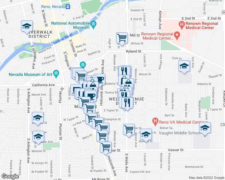 map of restaurants, bars, coffee shops, grocery stores, and more near 715 Wheeler Avenue in Reno