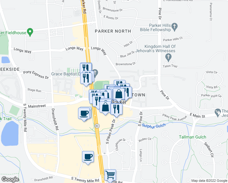 map of restaurants, bars, coffee shops, grocery stores, and more near 19560 Victorian Drive in Parker