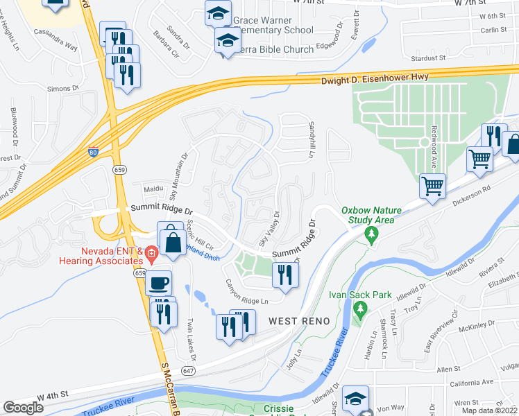 map of restaurants, bars, coffee shops, grocery stores, and more near 1550 Sky Valley Drive in Reno