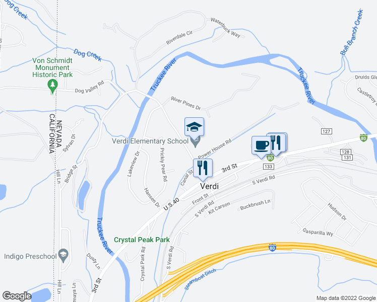 map of restaurants, bars, coffee shops, grocery stores, and more near 245 Bridge Street in Verdi