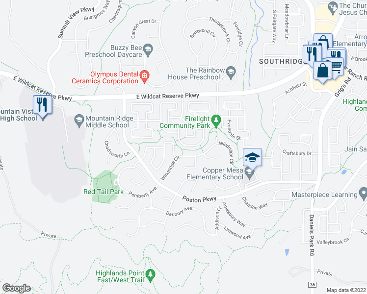 map of restaurants, bars, coffee shops, grocery stores, and more near 3000 Redhaven Way in Highlands Ranch