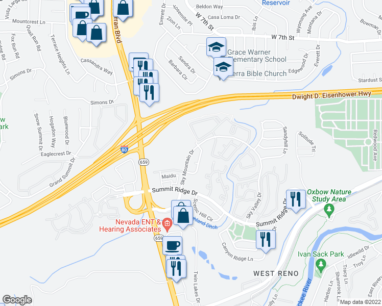 map of restaurants, bars, coffee shops, grocery stores, and more near 1405 Sky Mountain Drive in Reno