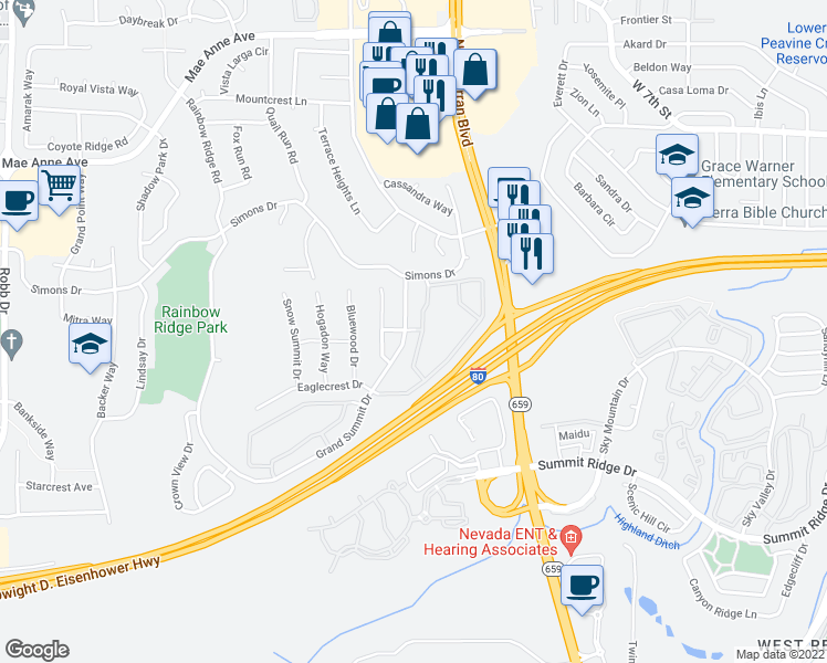map of restaurants, bars, coffee shops, grocery stores, and more near 1350 Grand Summit Drive in Reno