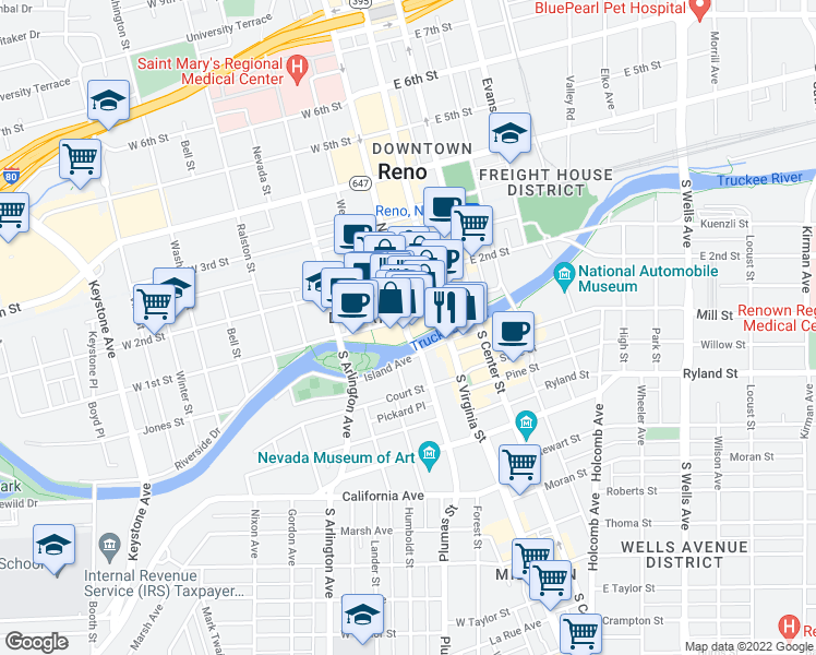 map of restaurants, bars, coffee shops, grocery stores, and more near in Reno