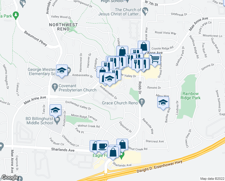 map of restaurants, bars, coffee shops, grocery stores, and more near 1500-1508 Ambassador Drive in Reno
