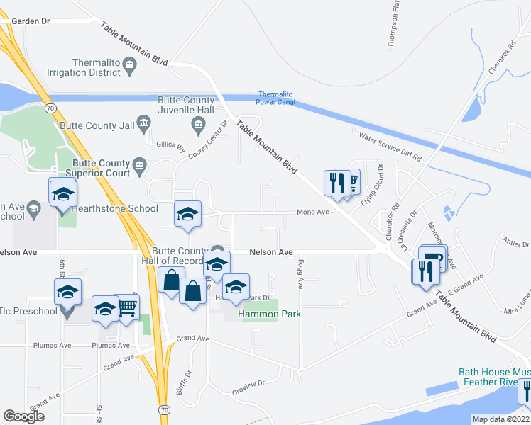 map of restaurants, bars, coffee shops, grocery stores, and more near 116 Mono Avenue in Oroville