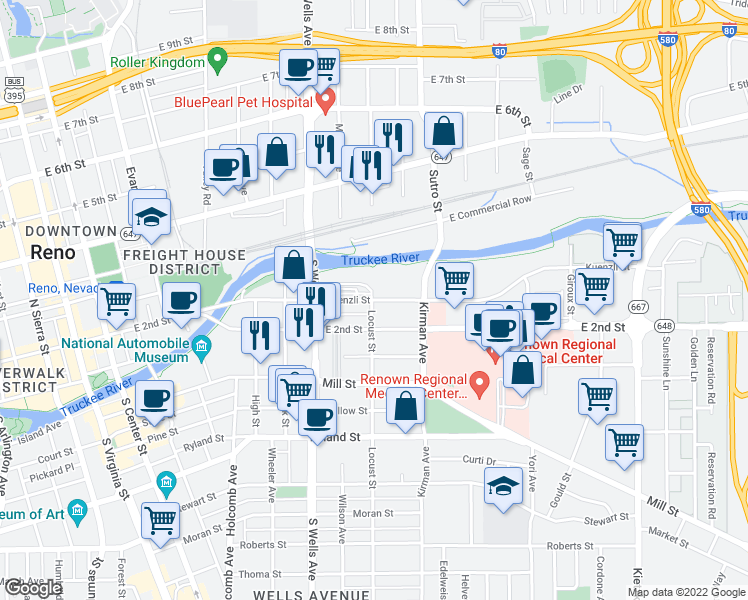 map of restaurants, bars, coffee shops, grocery stores, and more near 800 Kuenzli Street in Reno