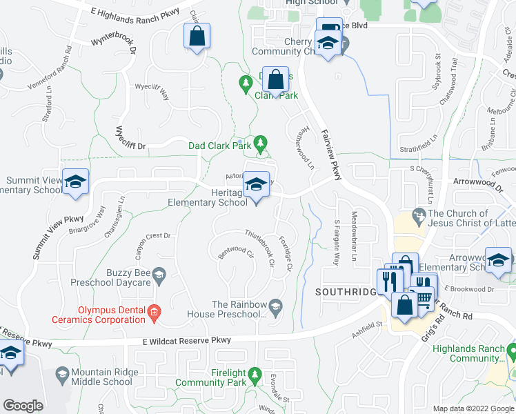 map of restaurants, bars, coffee shops, grocery stores, and more near 3350 Summit View Parkway in Littleton