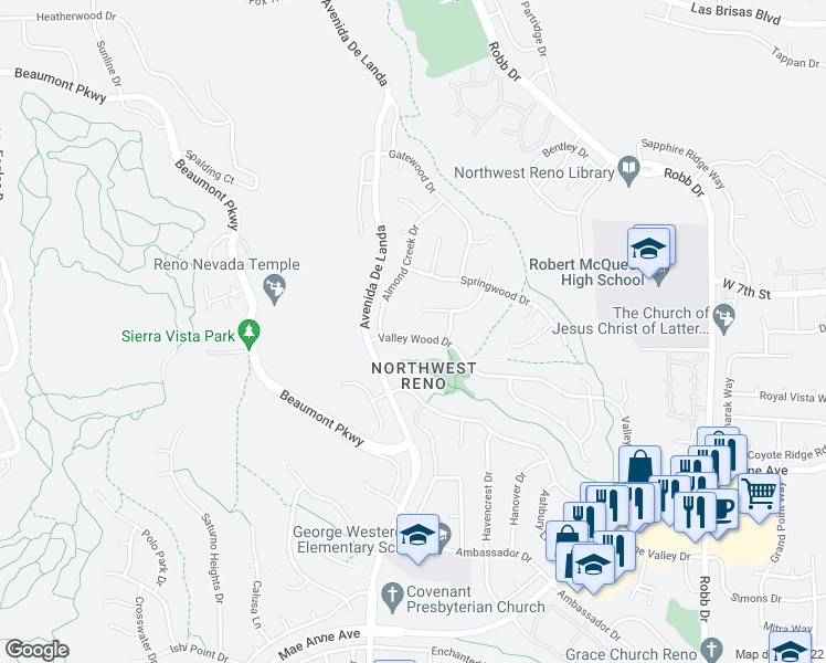 map of restaurants, bars, coffee shops, grocery stores, and more near 6648 Valley Wood Drive in Reno
