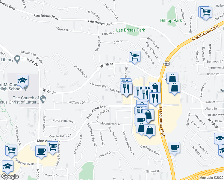 map of restaurants, bars, coffee shops, grocery stores, and more near Villa Verde Drive in Reno