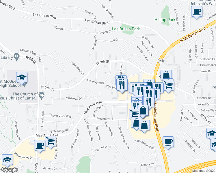 map of restaurants, bars, coffee shops, grocery stores, and more near 5200-5284 Villa Verde Drive in Reno