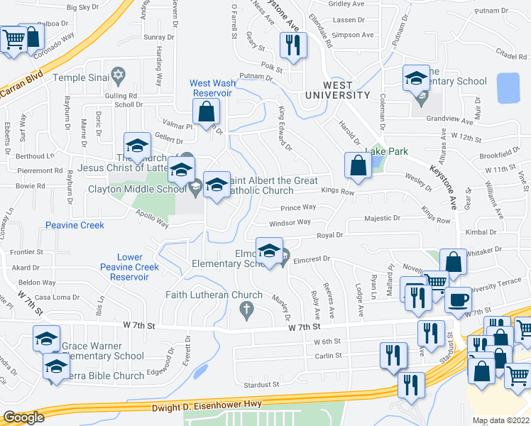 map of restaurants, bars, coffee shops, grocery stores, and more near 2170 Prince Way in Reno