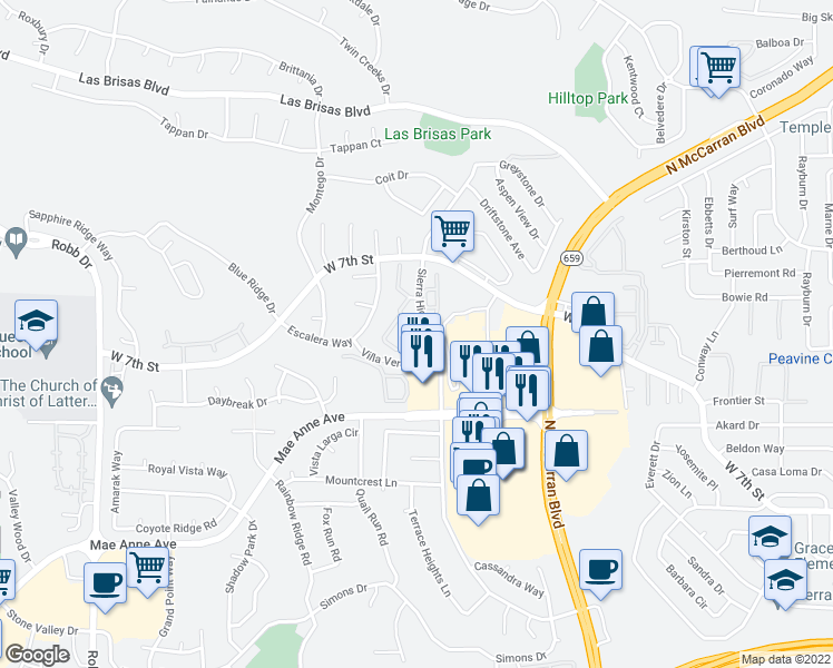 map of restaurants, bars, coffee shops, grocery stores, and more near 2175 Sierra Highlands Drive in Reno