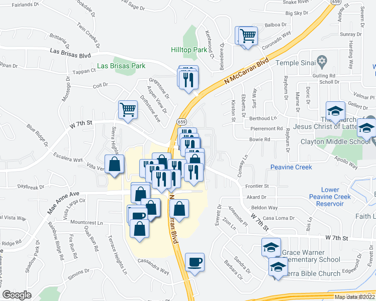 map of restaurants, bars, coffee shops, grocery stores, and more near 4995 West Seventh Street in Reno