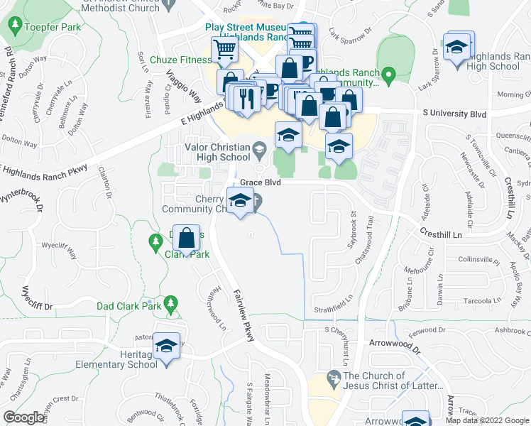 map of restaurants, bars, coffee shops, grocery stores, and more near 3836-3872 East Grace Boulevard in Highlands Ranch