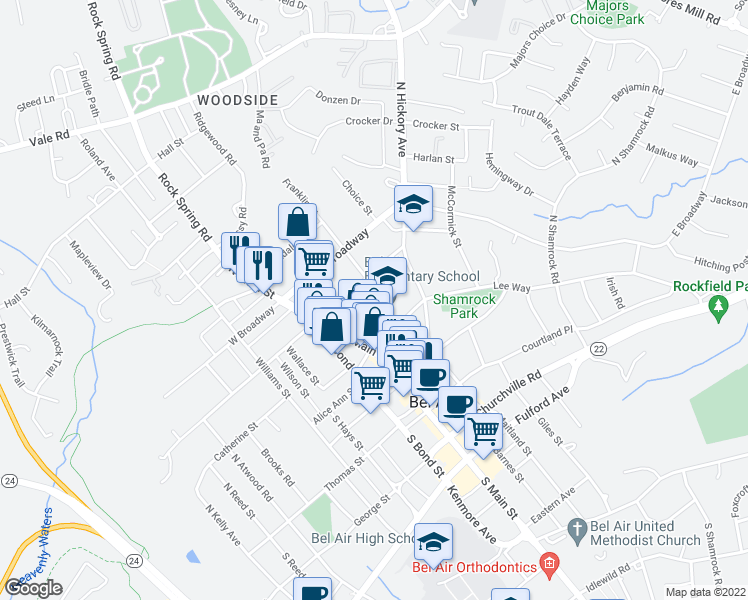 map of restaurants, bars, coffee shops, grocery stores, and more near 54 East Gordon Street in Bel Air