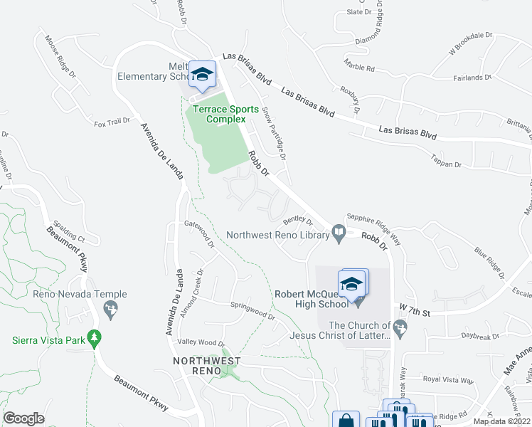 map of restaurants, bars, coffee shops, grocery stores, and more near 2475 Robb Drive in Reno