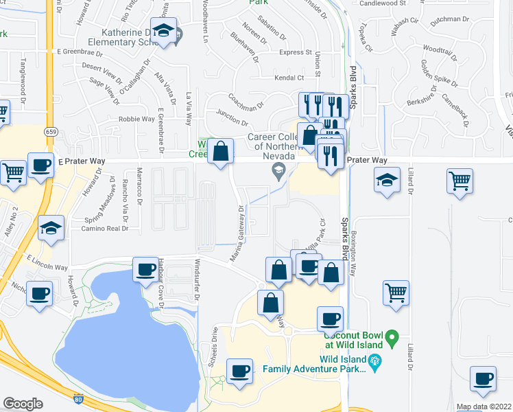 map of restaurants, bars, coffee shops, grocery stores, and more near 550 Marina Gateway Drive in Sparks