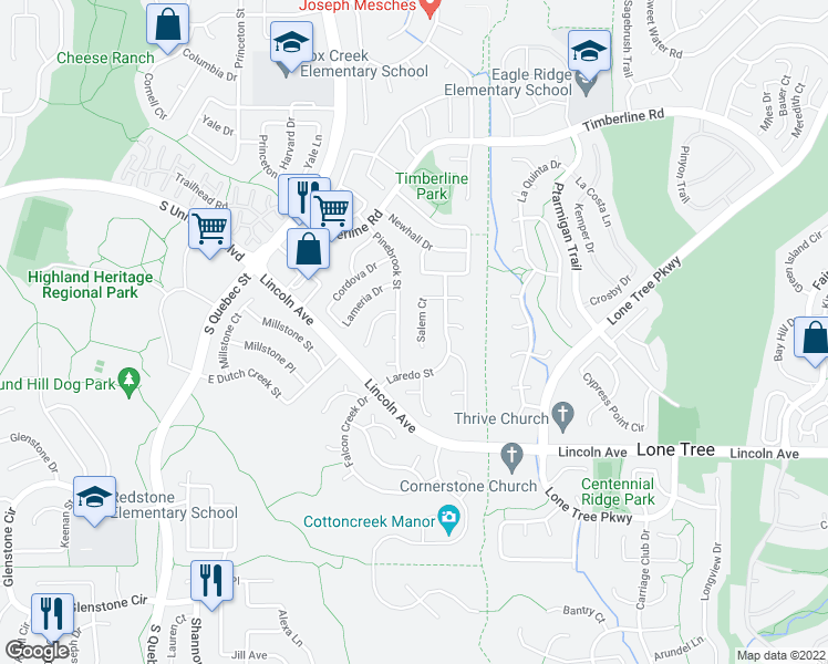 map of restaurants, bars, coffee shops, grocery stores, and more near 9671 Salem Court in Littleton