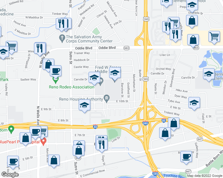 map of restaurants, bars, coffee shops, grocery stores, and more near 1650 Carville Drive in Reno