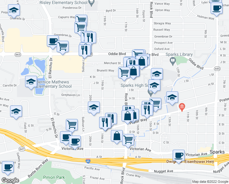 map of restaurants, bars, coffee shops, grocery stores, and more near 1811 I Street in Sparks