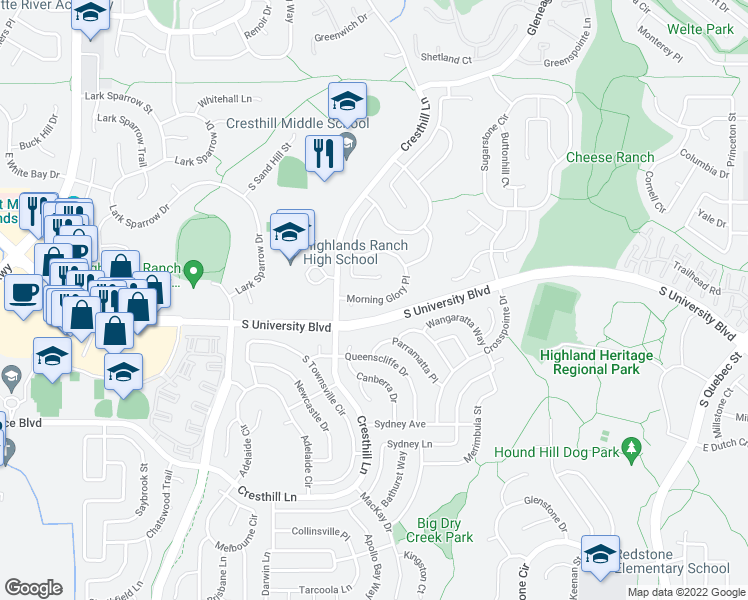 map of restaurants, bars, coffee shops, grocery stores, and more near East Morning Glory Place in Highlands Ranch