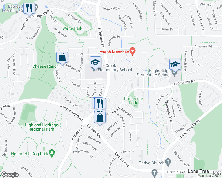 map of restaurants, bars, coffee shops, grocery stores, and more near 9356 Cheshire Ct in Highlands Ranch