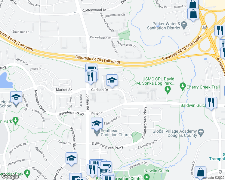 map of restaurants, bars, coffee shops, grocery stores, and more near 16995 Carlson Drive in Parker