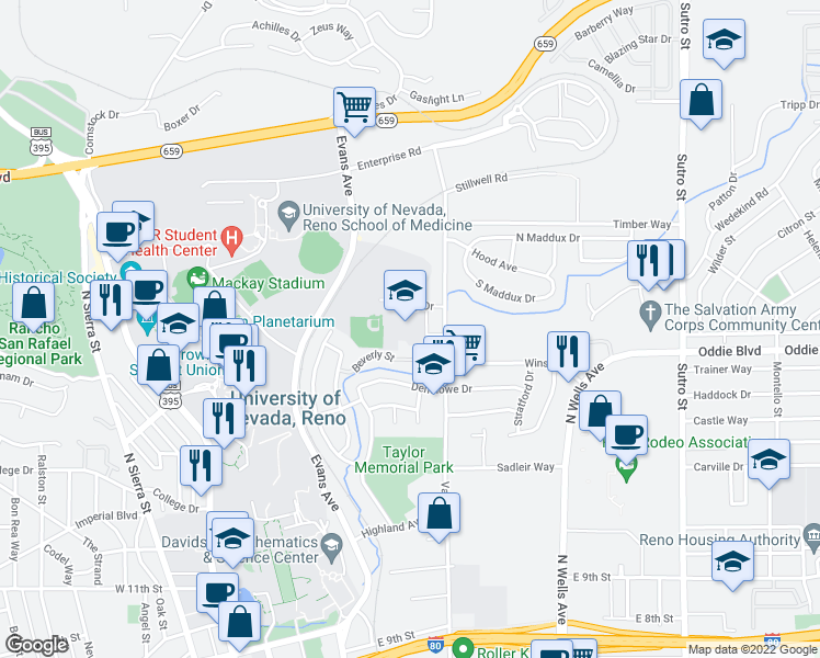 map of restaurants, bars, coffee shops, grocery stores, and more near 2001 Soaring Eagle Drive in Reno