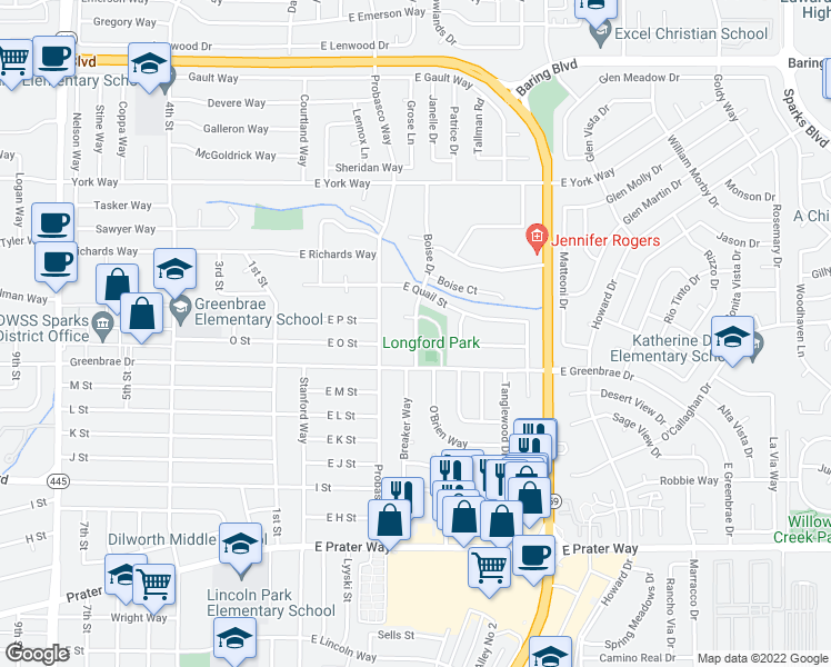 map of restaurants, bars, coffee shops, grocery stores, and more near 1855 Boise Drive in Sparks