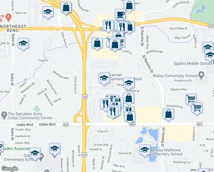 map of restaurants, bars, coffee shops, grocery stores, and more near 2400-2498 Cannan Street in Reno