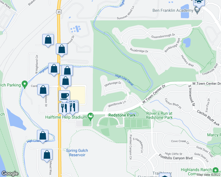 map of restaurants, bars, coffee shops, grocery stores, and more near 3466 Westbrook Ln in Highlands Ranch