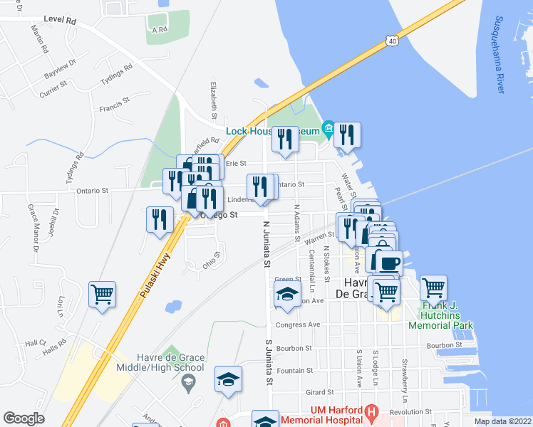 map of restaurants, bars, coffee shops, grocery stores, and more near 729 Linden Lane in Havre de Grace