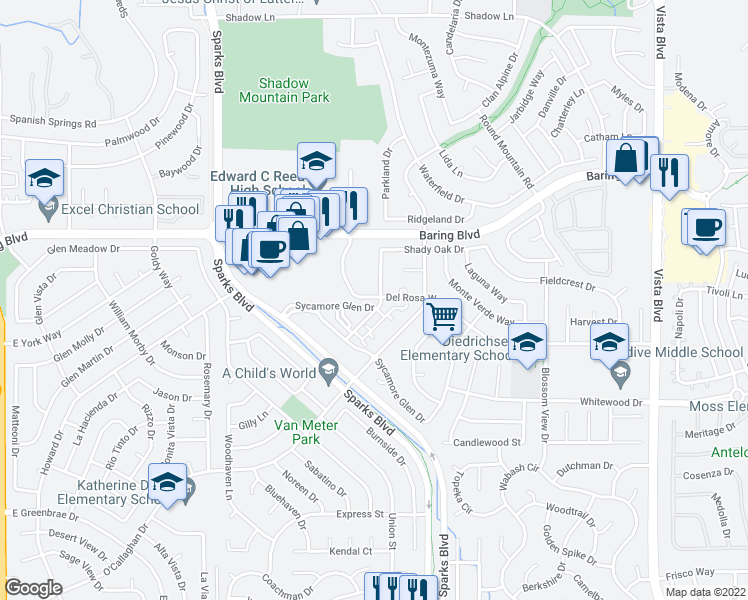 map of restaurants, bars, coffee shops, grocery stores, and more near 2546 Sunny Slope Drive in Sparks