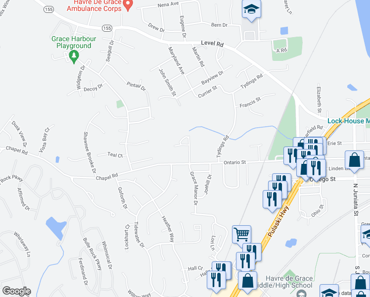 map of restaurants, bars, coffee shops, grocery stores, and more near 105 Gracecroft Court in Havre de Grace