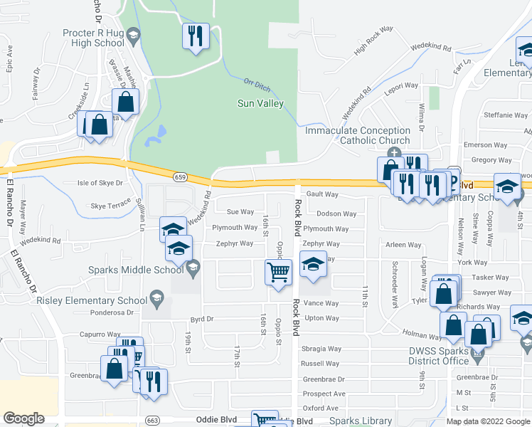 map of restaurants, bars, coffee shops, grocery stores, and more near 2650 16th Street in Sparks