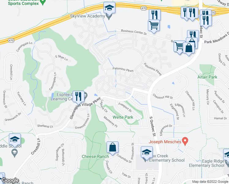 map of restaurants, bars, coffee shops, grocery stores, and more near 6458 Silver Mesa Drive in Littleton