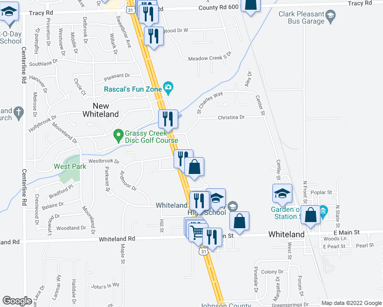 map of restaurants, bars, coffee shops, grocery stores, and more near 235 North U.S Highway 31 in New Whiteland