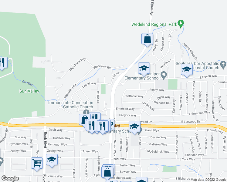 map of restaurants, bars, coffee shops, grocery stores, and more near 3305-3323 Pyramid Way in Sparks